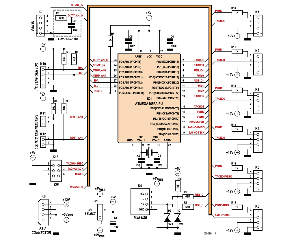 The circuit consists mainly of an Atmega microcontroller and a large number  of connectors.