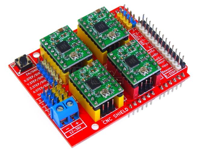 Cnc axis stepper motor shield v for arduino handson tech