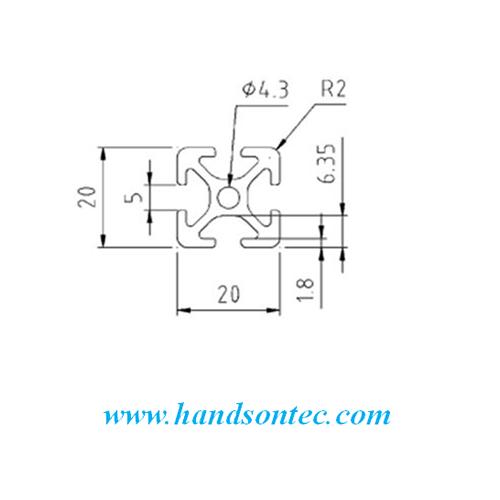 20x20mm p5 series aluminum profile  60cm  u2013 handson tech